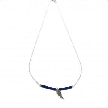 Collier Goa aile d'ange pendante avec perles tubes bleue sur chaine argent - Bijoux modernes - Gag et Lou - bijoux fantaisie