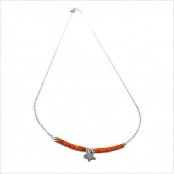 Collier Goa étoile pendante avec perles tubes rose saumon sur chaine argent - Bijoux modernes - Gag et Lou - bijoux fantaisie