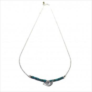 Collier Goa oiseau avec perles tubes turquoise sur chaine argent - Bijoux modernes - Gag et Lou - bijoux fantaisie