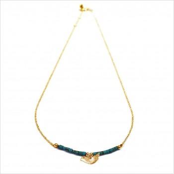 Collier Goa oiseau avec perles tubes turquoise sur chaine plaqué or - Bijoux modernes - Gag et Lou - bijoux fantaisie