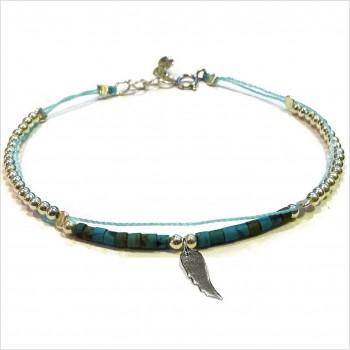 Bracelet Goa sur lien Perles tube turquoise sur lien aile d'ange en argent - Bijoux modernes - Gag and Lou - bijoux fantaisie