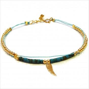 Bracelet Goa sur lien Perles tube turquoise sur lien aile d'ange en plaqué or - Bijoux modernes - Gag and Lou - bijoux fantaisie
