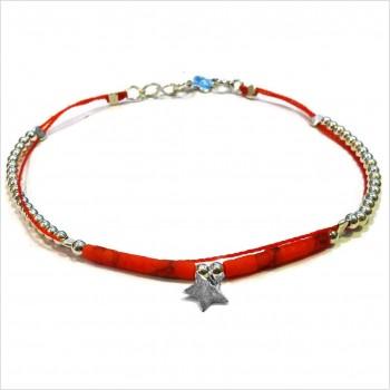 Bracelet Goa sur lien Perles tube rouge sur lien charms étoile en argent - Bijoux modernes - Gag and Lou - Bijoux fantaisie