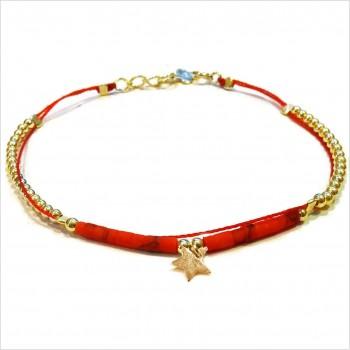Bracelet Goa sur lien Perles tube rouge sur lien charms étoile en plaqué or - Bijoux modernes - Gag and Lou - Bijoux fantaisie