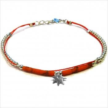 Bracelet Goa sur lien Perles tube corail sur lien charms feuille en argent - Bijoux modernes - Gag and Lou - Bijoux fantaisie