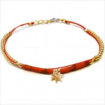 Bracelet Goa sur lien Perles tube corail sur lien charms feuille en plaqué or - Bijoux modernes - Gag and Lou - Bijoux fantaisie