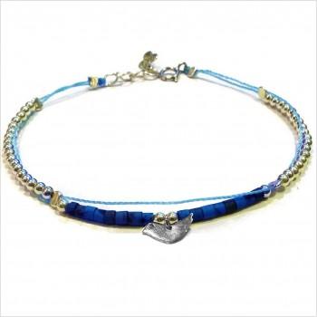 Bracelet Goa sur lien Perles tube bleue sur lien charms oiseau en argent - Bijoux modernes - Gag and Lou - Bijoux fantaisie