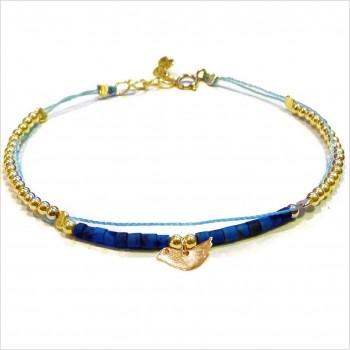 Bracelet Goa sur lien Perles tube bleue sur lien charms oiseau en plaqué or - Bijoux modernes - Gag and Lou - Bijoux fantaisie