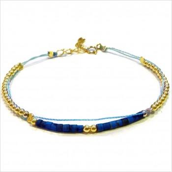 Bracelet Goa sur lien Perles tube bleue sur lien sans charms en plaqué or - Bijoux modernes - Gag and Lou - Bijoux fantaisie
