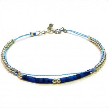 Bracelet Goa sur lien Perles tube bleue sur lien sans charms en argent - Bijoux modernes - Gag and Lou - Bijoux fantaisie