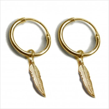 Hoop earrings with a feather