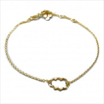 Bracelet nuage évidé sur chaine en plaqué or - bijoux fins et fantaisies