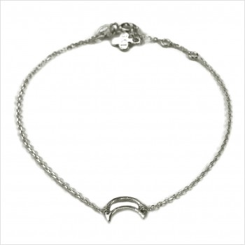 Bracelet lune évidée sur chaine en argent - bijoux fins et fantaisies