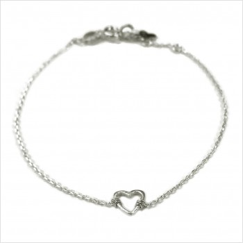 Bracelet coeur évidé sur chaine en argent - bijoux fins et fantaisies
