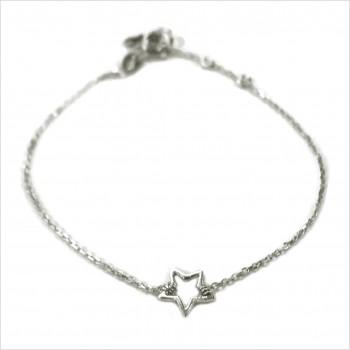 Bracelet étoile évidée sur chaine en argent - bijoux fins et fantaisies