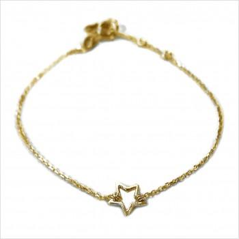 Bracelet étoile évidée sur chaine en plaqué or -bijoux fins et fantaisies