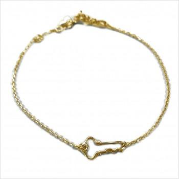 Bracelet clé évidée sur chaine en plaqué or - bijoux fins et fantaisies