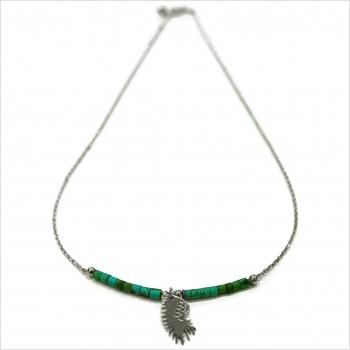 Collier Goa coiffe d'indien pendante avec perles tubes verte émeraude sur chaine argent - Bijoux modernes - Gag et Lou