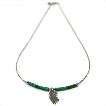 Tube stones on a chain with indian headdress mini charm
