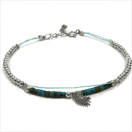 Tube stones bracelet with indian headdress mini charm