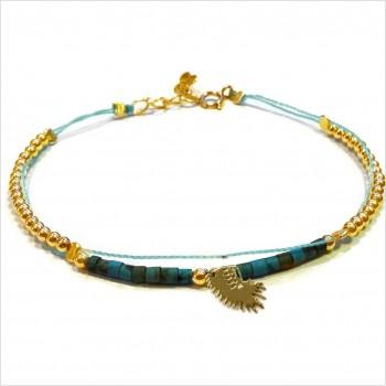Perles tube sur lien avec charm coiffe d'indien