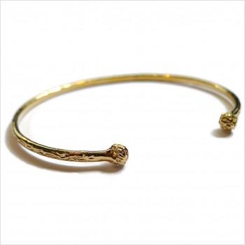 Jonc martelé deux boules extrémités ajustable en plaqué or - Bijoux fins et intemporels