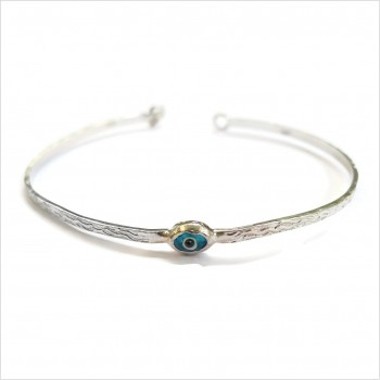 The Blue Eye flat hammered bangle