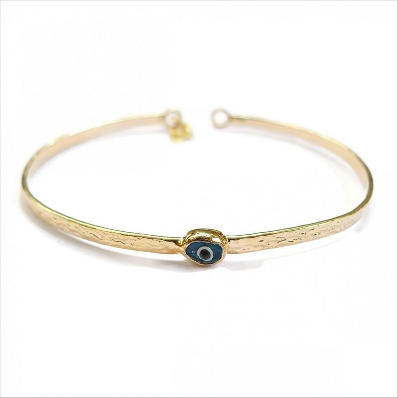 The Blue Eye flat hammered bangle