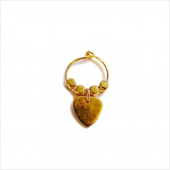 Créoles en plaqué or avec perles facettées pendentif coeur - Bijoux modernes