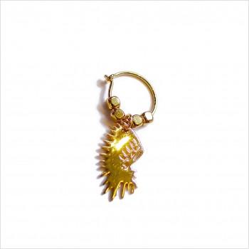 Créoles en plaqué or avec perles facettées pendentif coiffe d'indien - Bijoux modernes