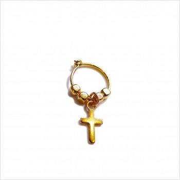 Créoles en plaqué or avec perles facettées pendentif croix - Bijoux modernes