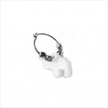 Créoles en argent avec perles facettées pendentif éléphant nacré - Bijoux fins et fantaisies