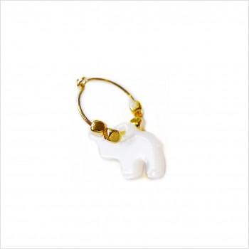 Créoles en plaqué or avec perles facettées pendentif éléphant nacré - Bijoux modernes