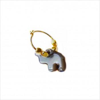 Créoles en plaqué or avec perles facettées pendentif éléphant nacré noir - Bijoux modernes
