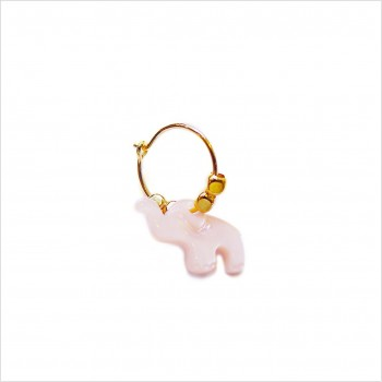 Stories earrings : Pink shell elephant