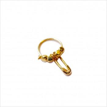 Créoles en plaqué or avec perles facettées pendentif épingle à nourrice  - Bijoux modernes