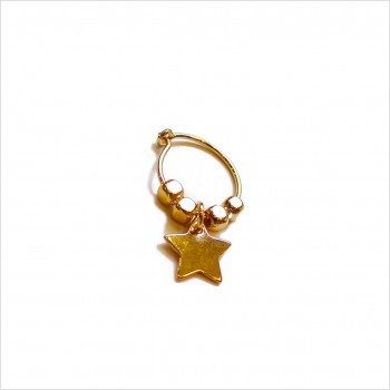Créoles en plaqué or avec perles facettées pendentif étoile - Bijoux modernes