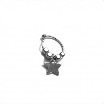 Créoles en argent avec perles facettées pendentif étoile - Bijoux modernes