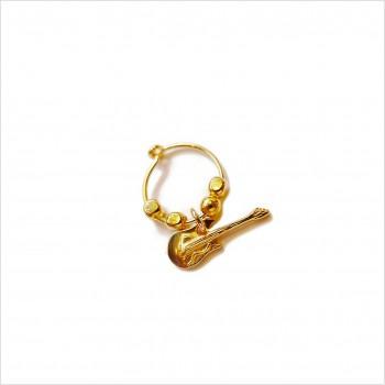 Créoles en plaqué or avec perles facettées pendentif guitare - Bijoux modernes