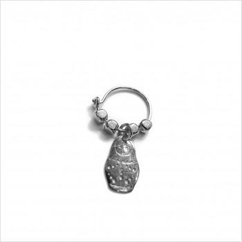 Créoles en argent avec perles facettées pendentif matriochka poupée russe - Bijoux fins et fantaisies
