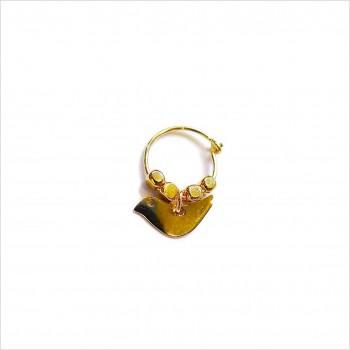 Créoles en plaqué or avec perles facettées pendentif oiseau - Bijoux modernes