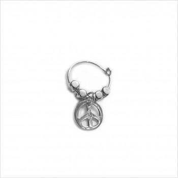 Créoles en argent avec perles facettées pendentif peace and love - Bijoux fins et fantaisies