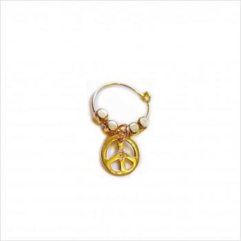 Créoles en plaqué or avec perles facettées pendentif peace and love - Bijoux modernes