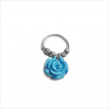 Créoles en argent avec perles facettées pendentif fleur rose turquoise - Bijoux fins et fantaisies