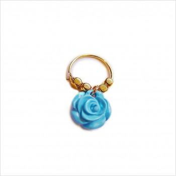 Créoles en plaqué or avec perles facettées pendentif fleur rose turquoise - Bijoux fins et fantaisies