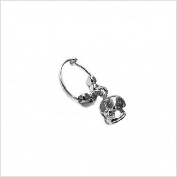 Créoles en argent avec perles facettées pendentif tête de mort - Bijoux fins et fantaisies