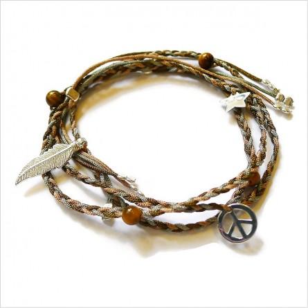 Brésilien perlé mini charms et perle tressé en argent - bijoux modernes - gag et lou - bijoux fantaisie