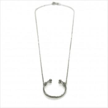 Collier demi-lune sur chaine en argent - Bijoux modernes - Gag et lou - Bijoux fantaisie