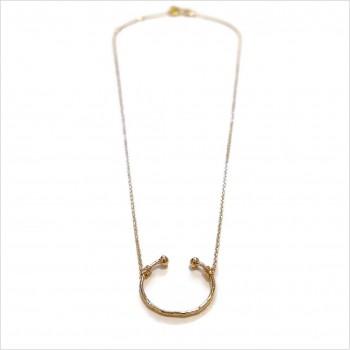 Collier anneau martelé ouvert sur chaine en plaqué or - Bijoux fins et fantaisies