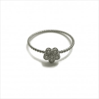 Bague fleur Marguerite torsadée en argent sertie de pierres fines - Bijoux fins et modernes